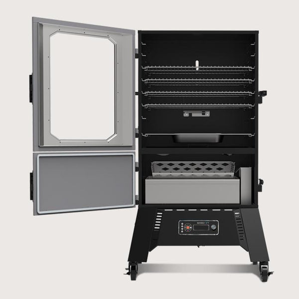 "Open 40"" digital charcoal smoker with 5 racks in the smoking chamber and a separate door for easy access to the charcoal box. On legs with locking casters for easy and secure moving."