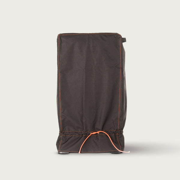 Black smoker cover with cinch cord at bottom