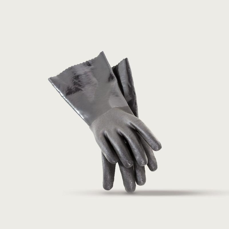 Pair of thick grey gloves with textured fingers