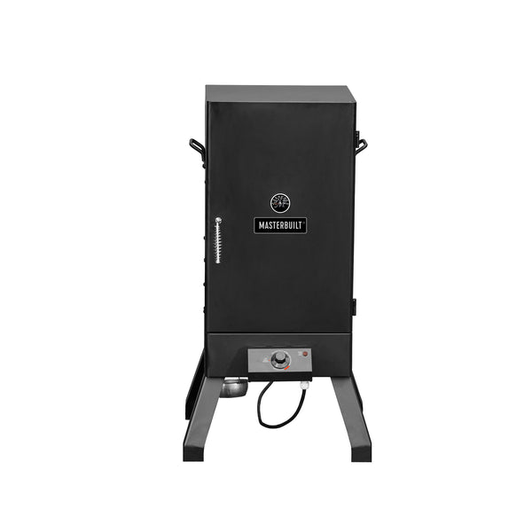 Analog electric smoker with solid door, in black