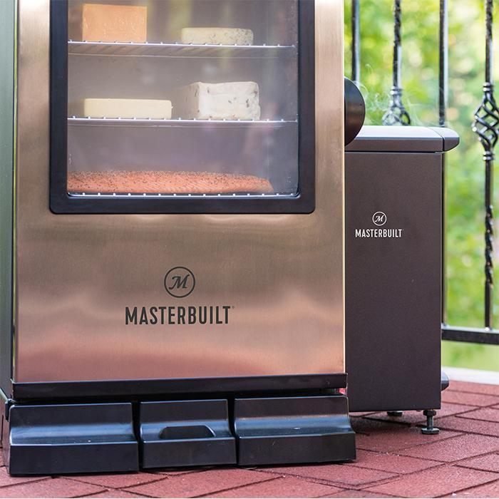 Slow smoker attached to right side of Masterbuilt Digital Electric Smoker