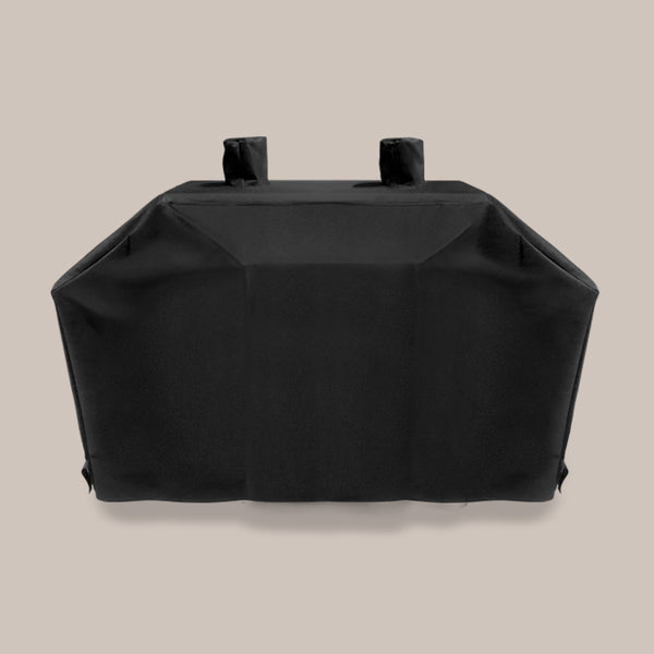 Black charcoal grill cover with two chimneys