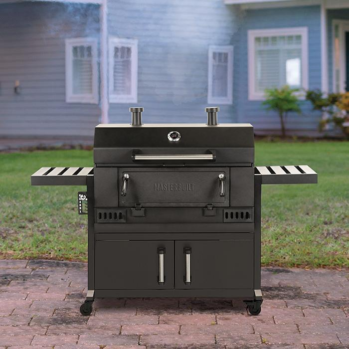 Masterbuilt 36 inch Charcoal Grill with storage underneath and 2 side shelves