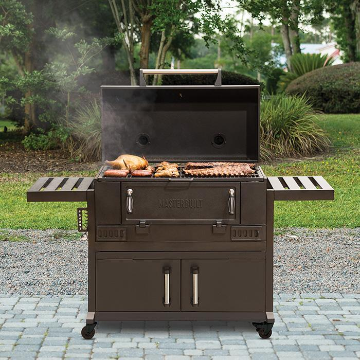 Masterbuilt 36 inch Charcoal Grill open to show smoking ribs, chicken, hot dogs and more