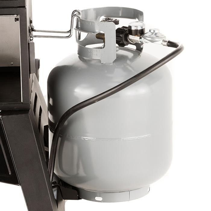 Masterbuilt 30 in Thermotemp propane smoker tank retention bracket and tank view