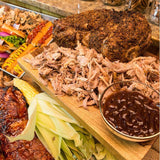 Scroll to product image Your feast is ready to go! Featuring hot dogs, pulled pork, ribs, and corn on the cob.