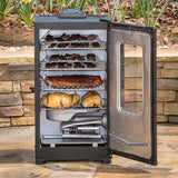 Scroll to product image This 40 inch smoker can hold turkeys and racks of ribs and still have room for wings