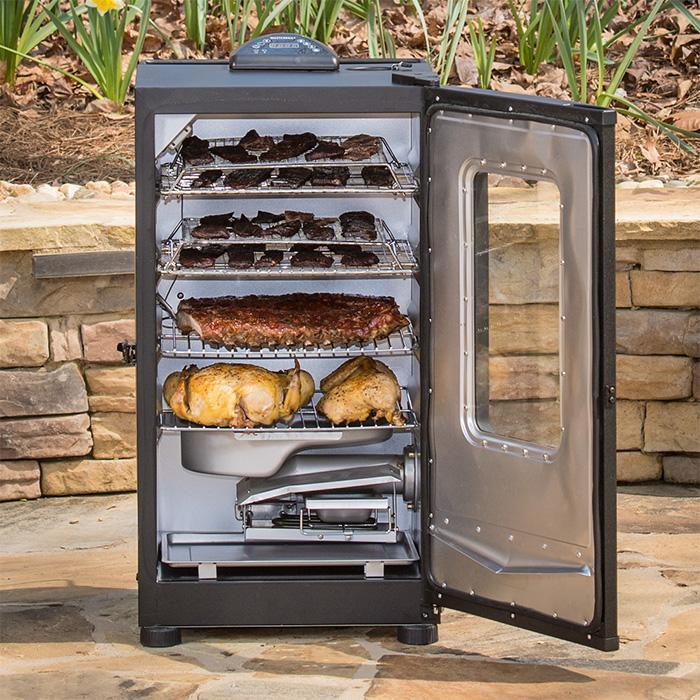 This 40 inch smoker can hold turkeys and racks of ribs and still have room for wings