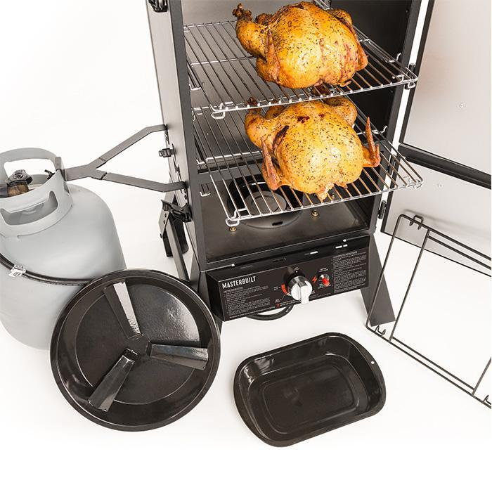 Masterbuilt Pro Series Dual Fuel Smoker in Black food capacity and product image
