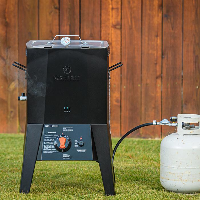 Fryer connected to propane tank
