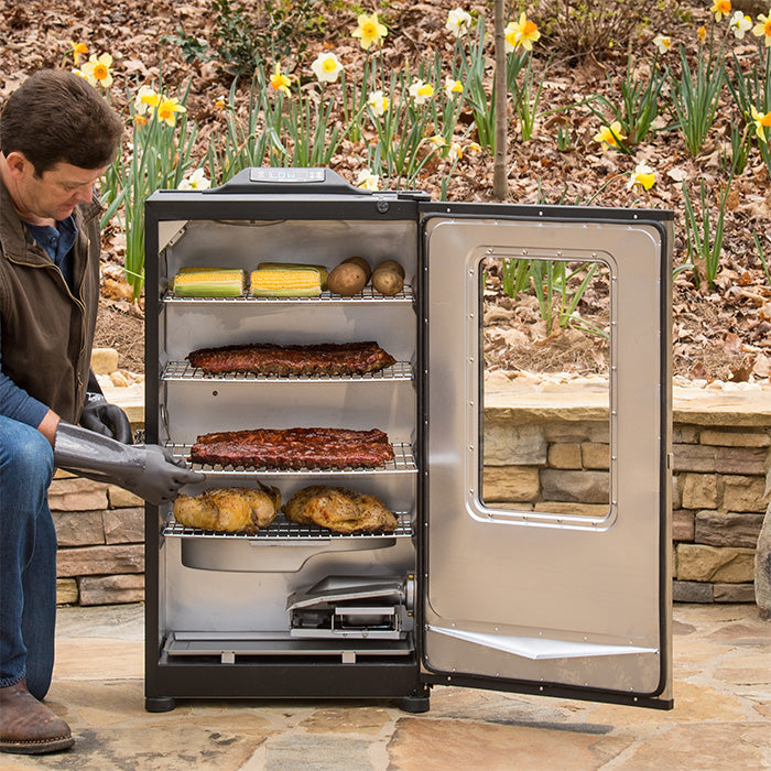 "40"" Bluetooth digital electric smoker, open, while smoking ribs, chicken, corn and potatoes"