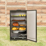 Scroll to product image Masterbuilt MES 140|B Digital Electric Smoker, open, with ribs, chicken, vegetables and more smoked and ready to eat