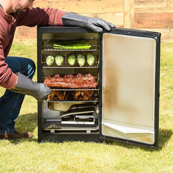 "Masterbuilt 30"" black door digital electric smoker, open, smoking ribs, chickens and vegetables"