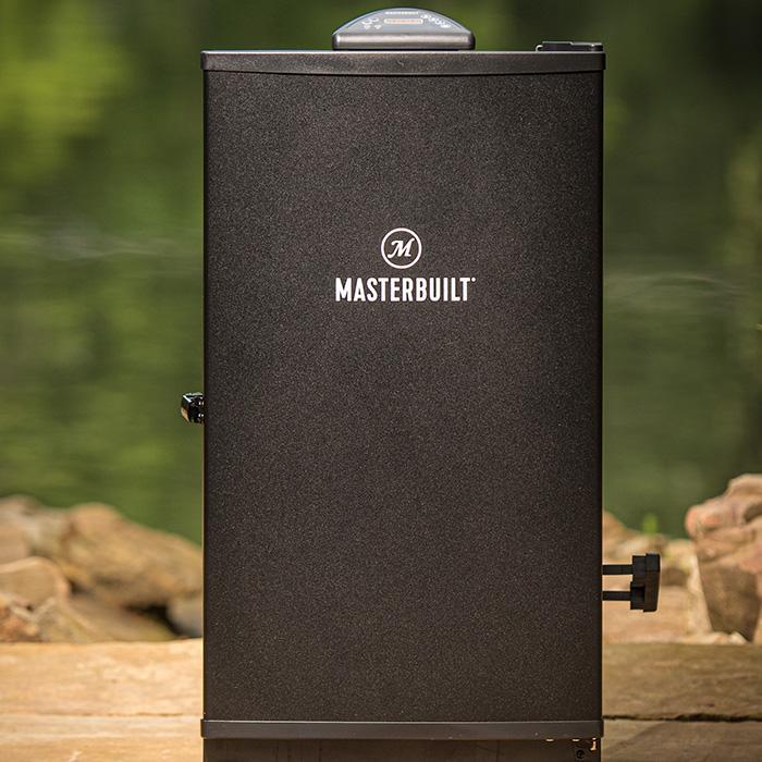 "Masterbuilt 30"" black door digital electric smoker at home on the patio"