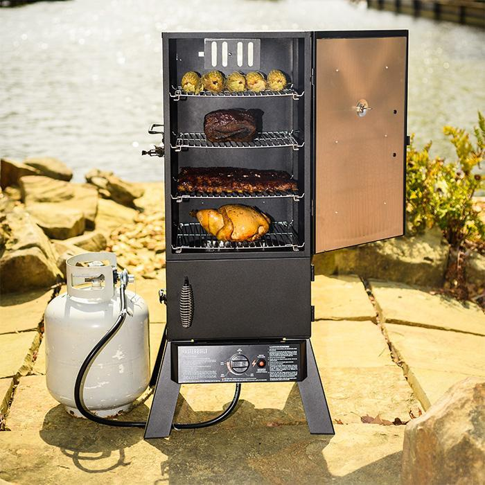 Masterbuilt 30 in propane smoker open door with food product image