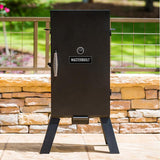 "Scroll to product image 30"" Masterbuilt Analog Electric Smoker at home on the patio"
