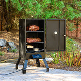 Scroll to product image Analog Electric Smoker, open, smoking ribs and turkey