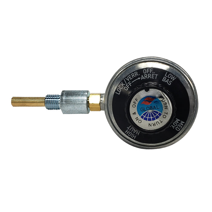 Regulator valve with threaded connection and locked/off, low, medium and high settings