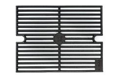 Heavy metal grate with Masterbuilt logo in the center and centered half-oval dips in short ends. A corner plate reads Sear or Smoke, depending on the side.