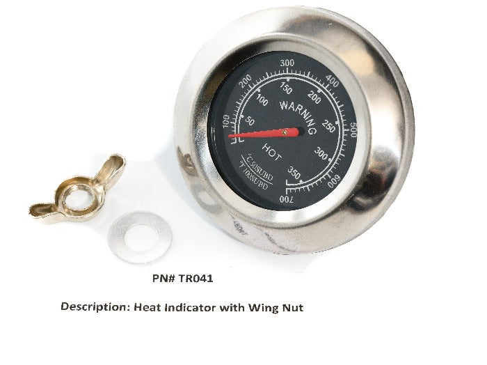 Round eat indicator with Fahrenheit and Celsius scales plus wing nut and washer