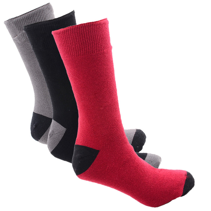 3 Pack of Recheargeable Battery Heated Socks - Black/Gray/Red