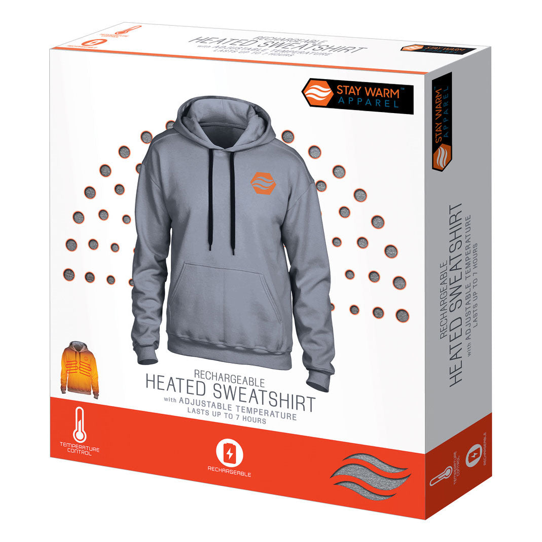 Heated 3 Level Temperature Hoodie With Rechargeable Battery for Men & Women - Gray