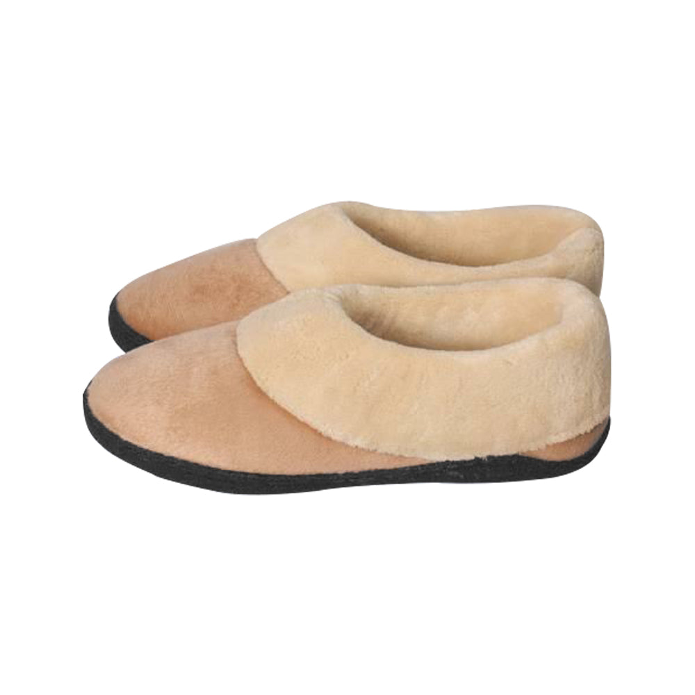 Memory Foam Heated Slipper With Rechargeable Battery - Tan