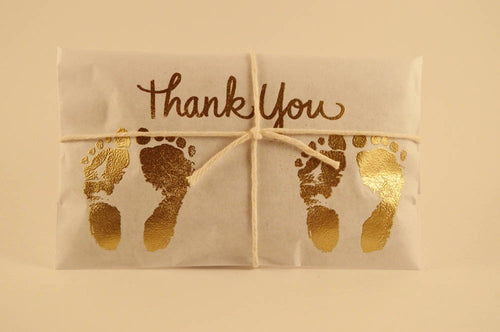 10 Gold Embossed Twin Baby Shower Favors. Fresh Roasted Coffee.