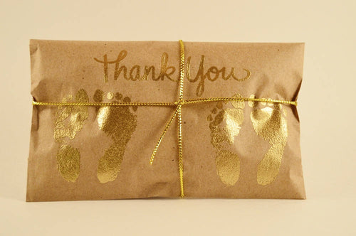 25 Twin Shower Favors. Gold and Kraft Paper Favors. Fresh Roasted Coffee