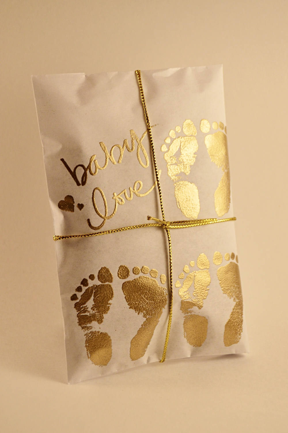 25 Triplet Baby Shower Favors. Gold and Paper Favors. Fresh Roasted Coffee