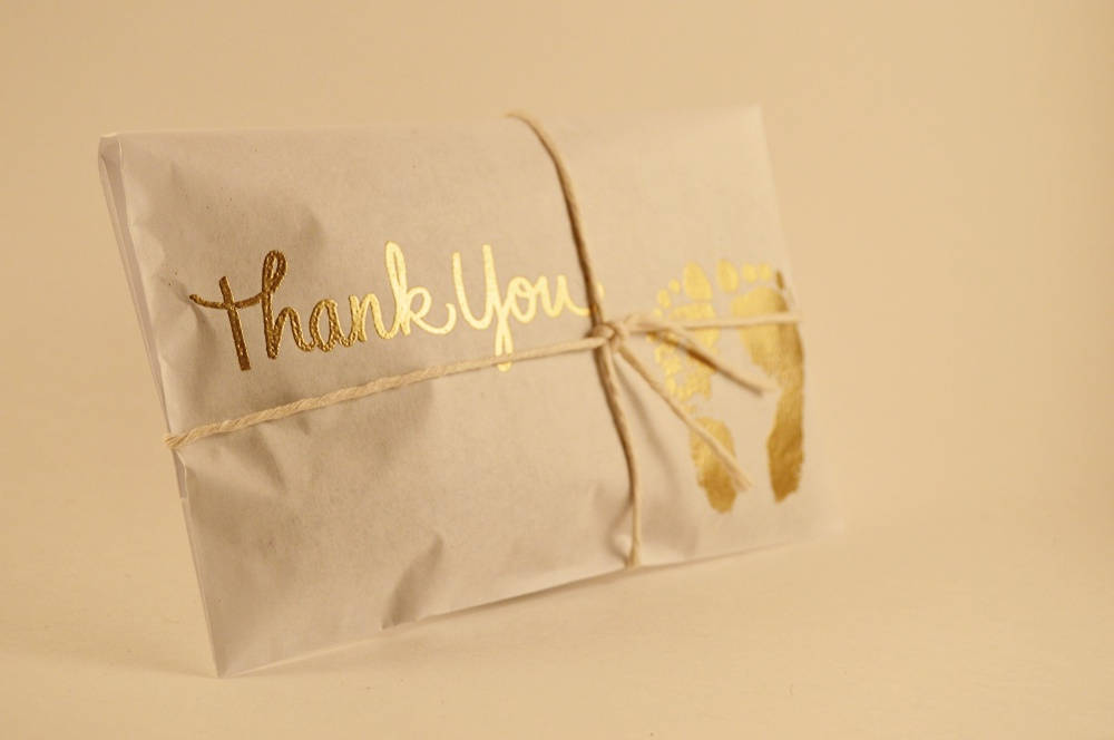 25 Baby Shower Favors. Gold and White Paper Favors. Fresh Roasted Coffee Favors.