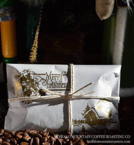 Stocking Stuffers/Coffee Favors. Set of 20. Gold Embossed. Handmade. Fresh Roasted Coffee