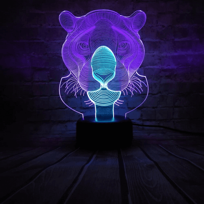 Neon Holographic Lion Light