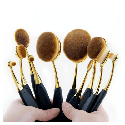 10 Piece Oval Makeup Brush Set
