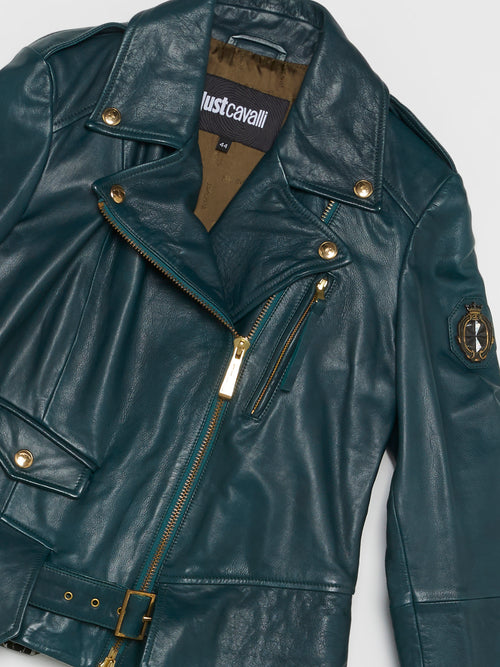 Green Belted Leather Jacket