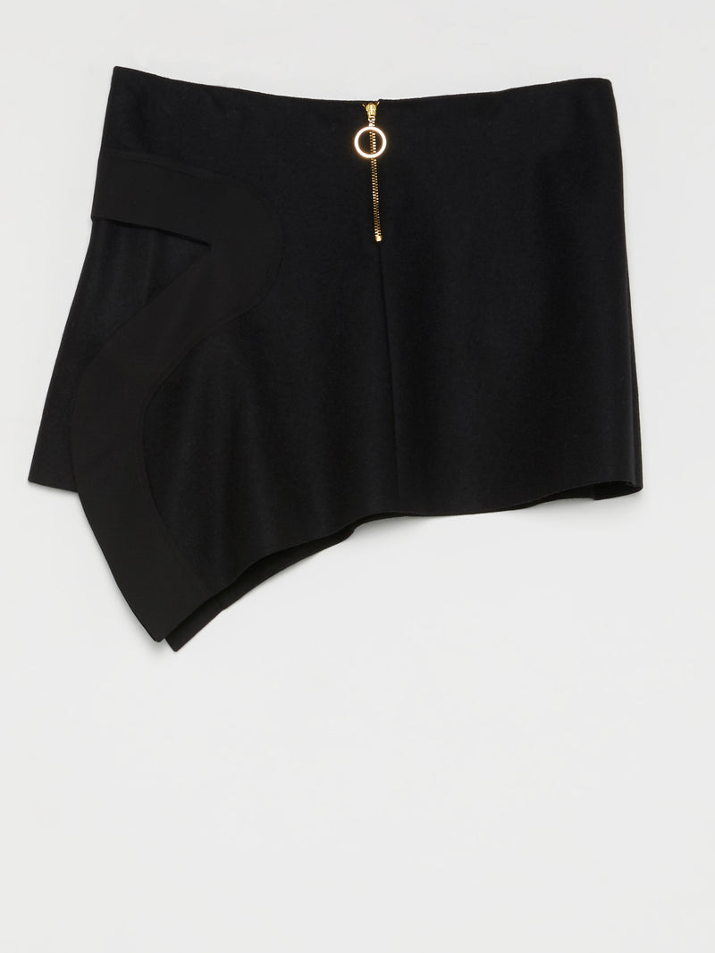 Black Flap Mini Skirt