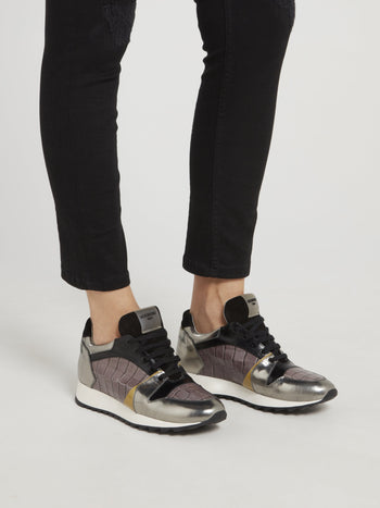 Silver Crocodile Panel Oversized Sneakers
