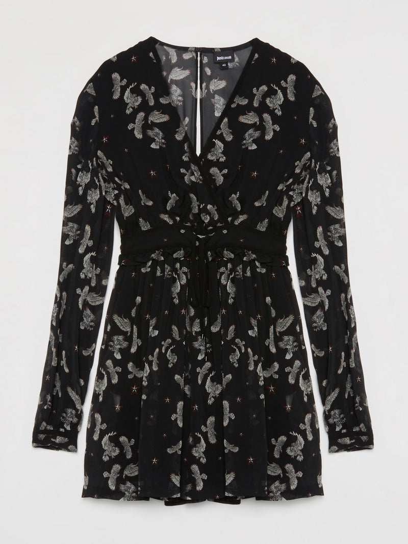 Black Eagle Print Surplice Dress