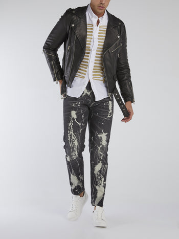 Black Paint Splashed Jeans