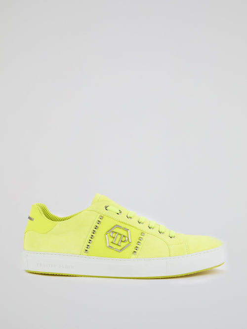 Chartreuse Low Top Suede Trainers