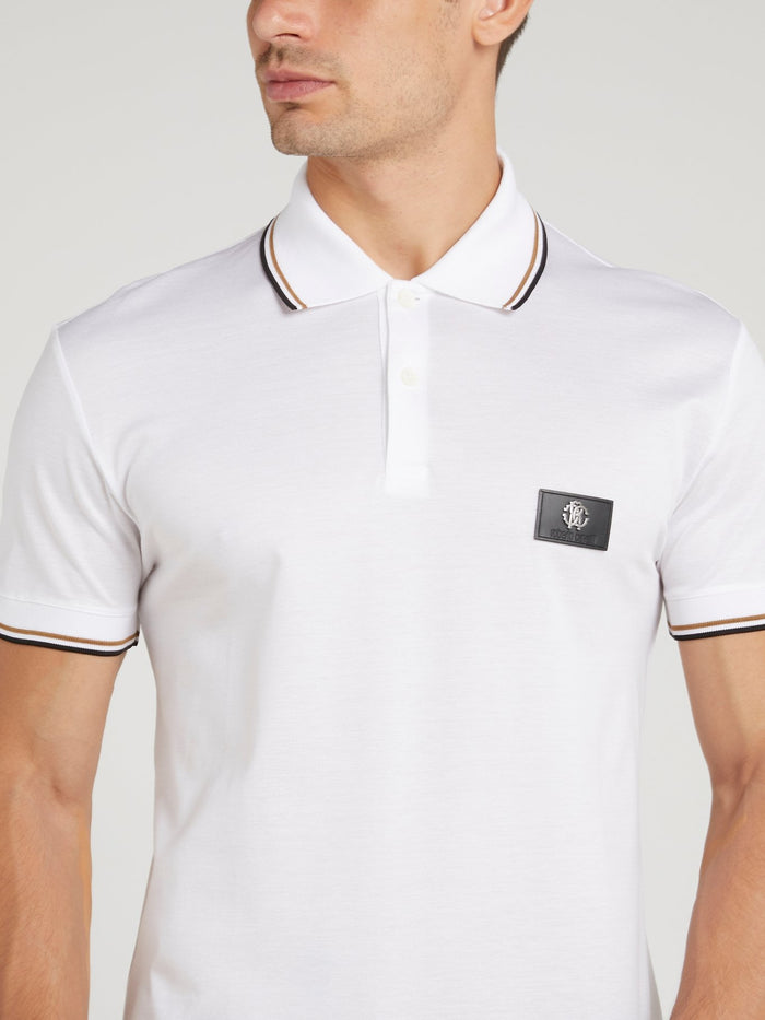 White Striped Edge Polo Shirt