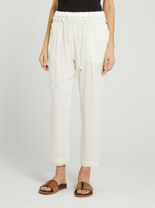 White Cropped Chiffon Pants