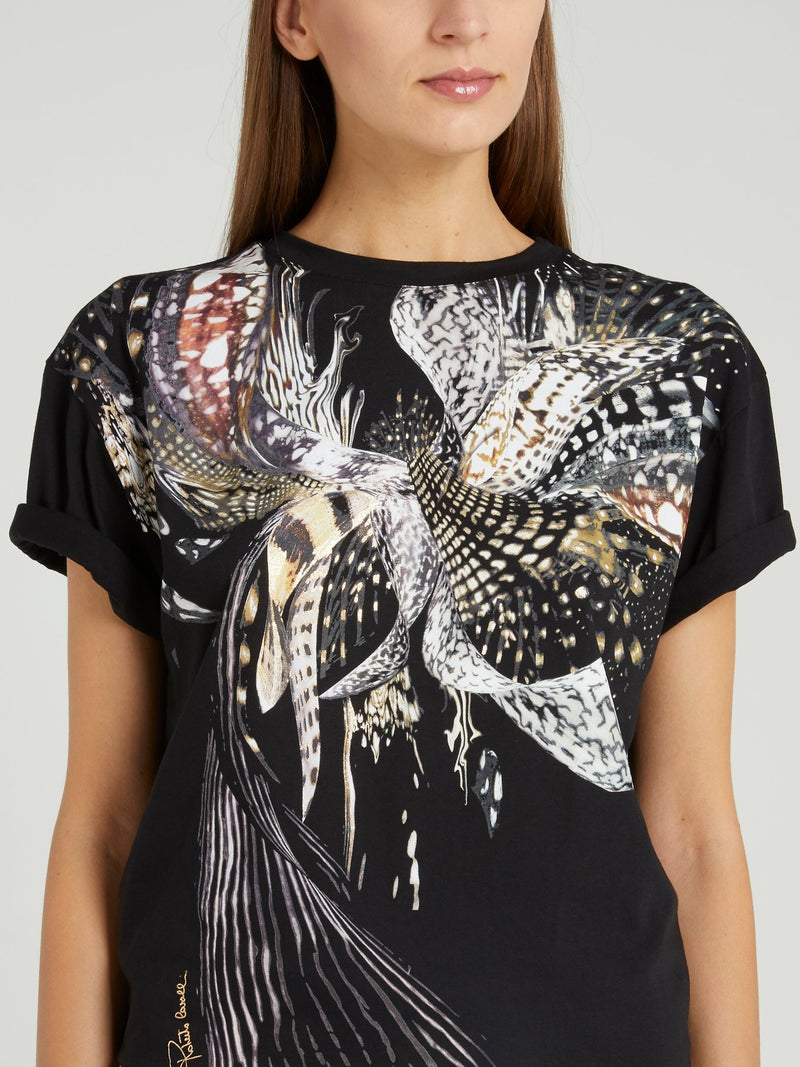 Black Butterfly Print T-Shirt