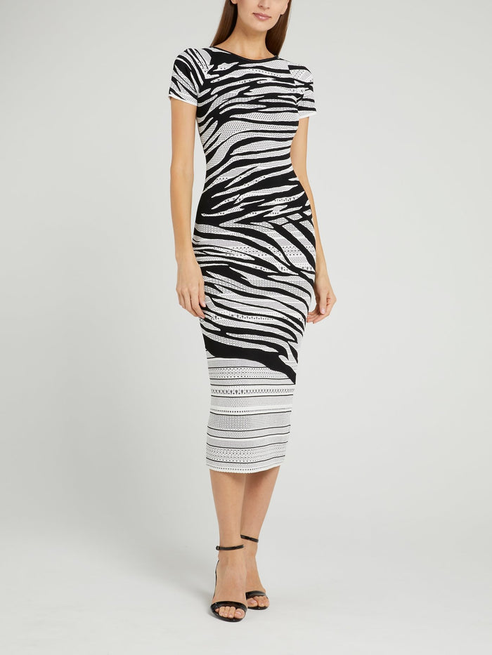 White Animal Print Perforated Midi Dress