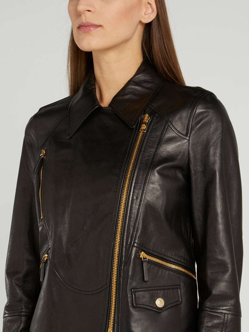 Black Wide-Collared Leather Jacket