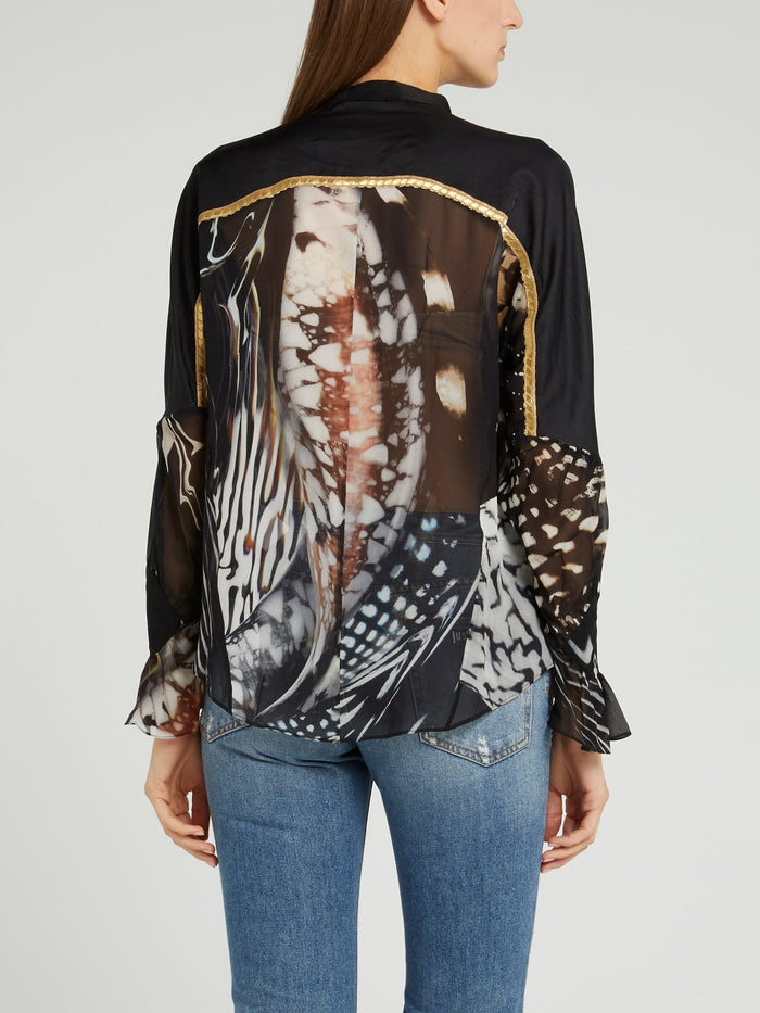 Black Butterfly Effect Mesh Shirt
