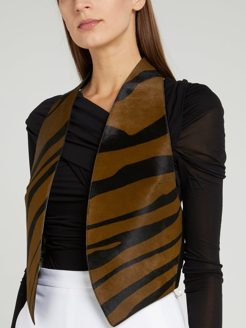 Animal Print Leather Gilet