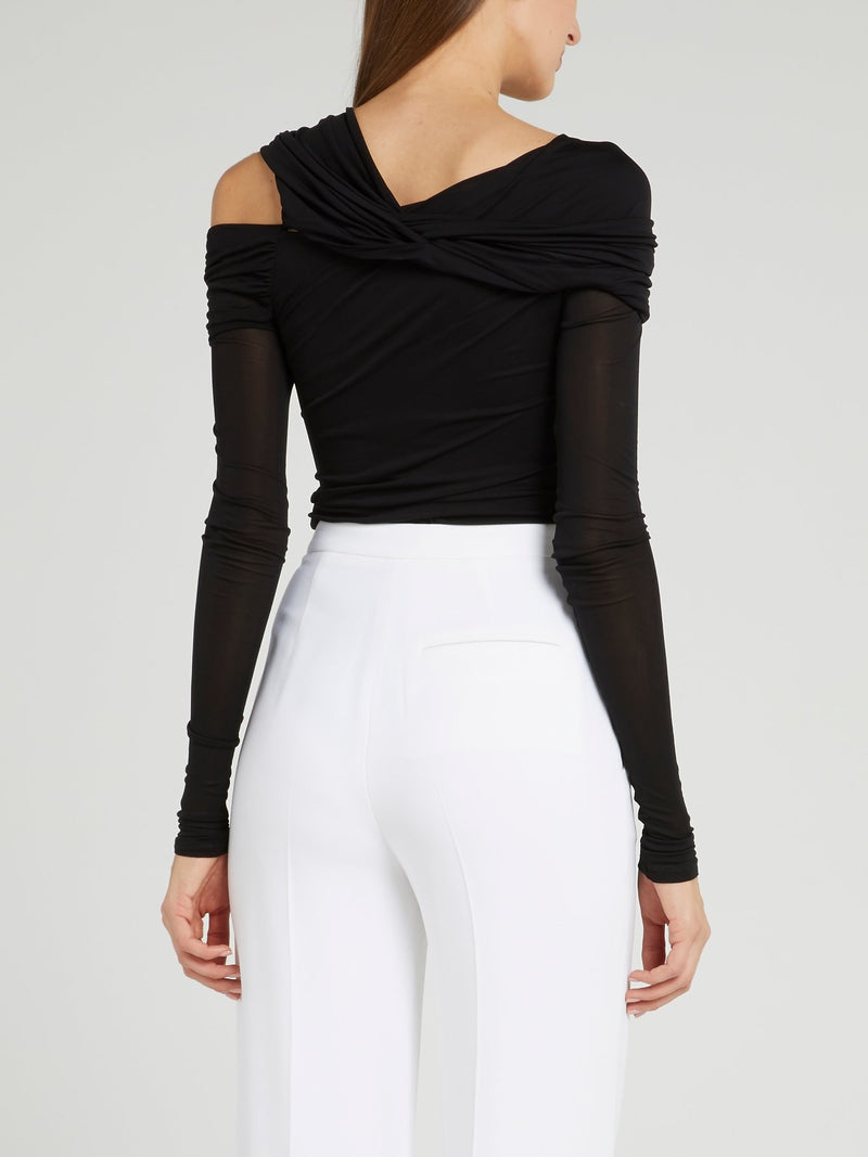 Black Asymmetric Ruched Top