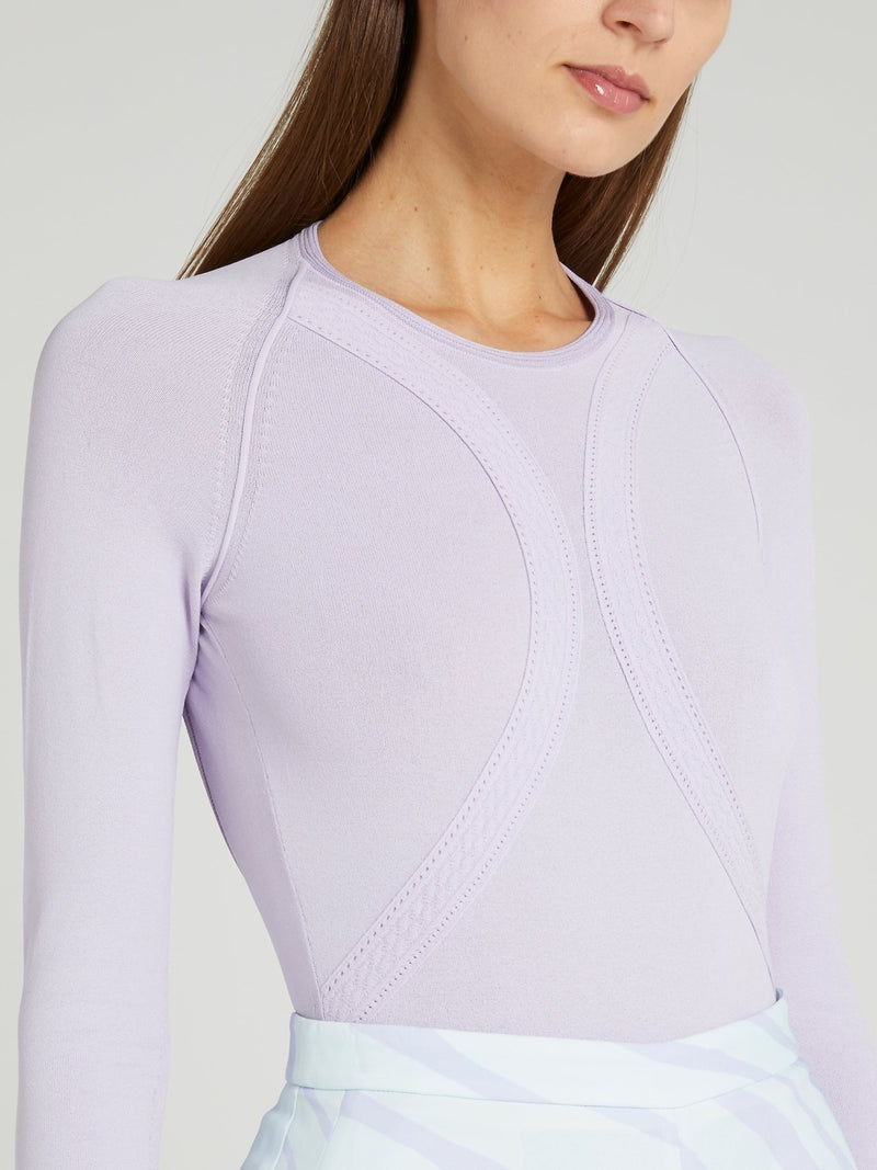 Purple Open Back Knitted Romper