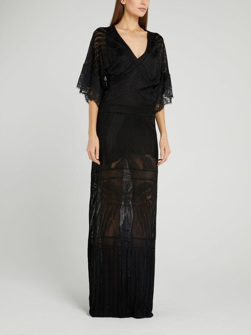 Black Tunnel Lace Maxi Dress